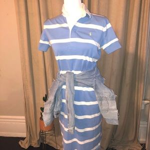 Blue/White Striped Polo Ralph Lauren Collar Dress